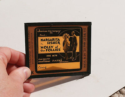 """1919 """"Molly of Follies"""" Margarita Fisher MOVIE AD glass slide"""