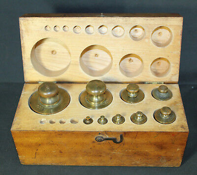 Antique Vintage Wooden Box Set Brass Pharmacy Apothecary Scale Weights 1kg-10g