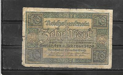 GERMANY #67a 1920 good CIRC OLD 10 MARK BANKNOTE PAPER MONEY CURRENCY NOTE