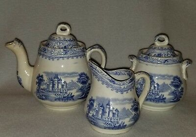 C.1870 Burgess Leigh & Co. Blue & White Rhine Transfer Ware 3 pc. Toy Tea Set