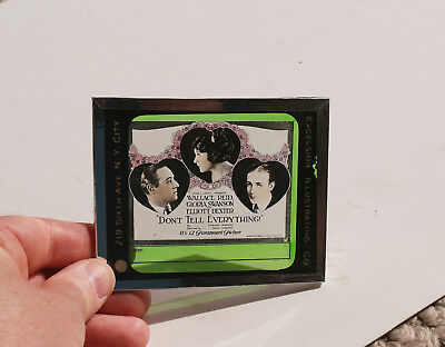 """1921 """"Don't Tell Everything"""" Gloria Swanson MOVIE AD glass slide"""
