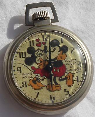 Rare 1960's Ingersoll Mickey & Minnie Mouse Kissing Image Small Pocket Watch