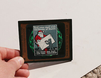 1910s/20s Christmas SEALS for Tuberculosis MOVIE AD glass slide