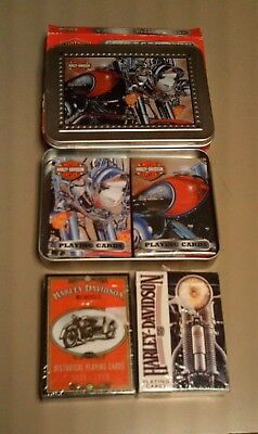Harley-Davidson Motorcycles Playing Cards 4 Different Decks + Tin Holder Mint