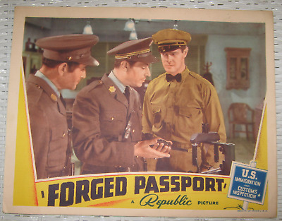 """1939 Movie Lobby Card """"forged Passport"""" A Republic Picture Starring June Lang+"""