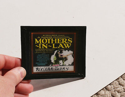 """1923"""" Mothers In Law"""" Gaston Glass   MOVIE AD glass slide (cracked)"""