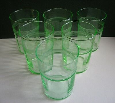 6 Vtg Depression Green Tumblers 8 Ounce Etched Ribbed Vaseline Glass Libbey? Set