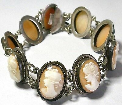 "Vintage Art Deco Era Carved Cameo Shell 800 Silver 7"" Bracelet 9 Ladies Portrait"