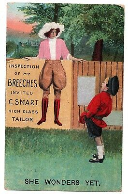 Lady posing for Men's Breeches, Boy Laughing; Vintage Postcard