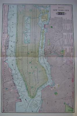 1904 New York City Large 2-page Color Map** Greater NY on Back .. 116 years-old!