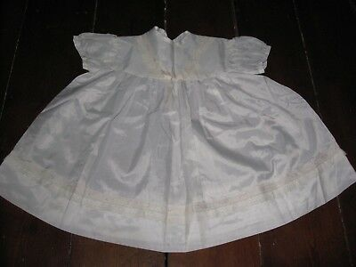 Vintage Baby Dress White Silky Material Lace Panels Age Roughly 1 Year