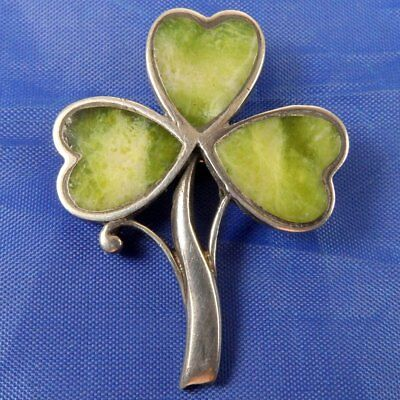Stunning Quality Antique Silver & Green Agate Irish Shamrock Brooch