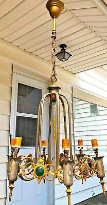 Antique Jeweled Victorian Large Brass 6 Light Hanging Chandelier