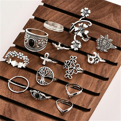 14 pcs  Boho Women Stack Above Knuckle Ring Finger Rings Set Jewelry Gift CB