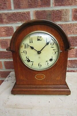 American Oak inlaid Arch Top Striking 8 day Mantle Clock by Gilbert