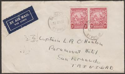 Barbados 1942 KGVI 2d Pair Used on Airmail Cover St Philip to Trinidad