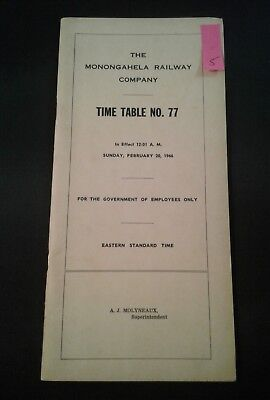 1966 MGA The Monongahela Railway Company Railroad Timetable No. 77 (5)