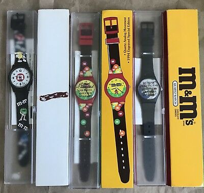 3 MIP M&M's WATCHES Candy unused Red Blue Green Yellow M & M s 1990's 90's