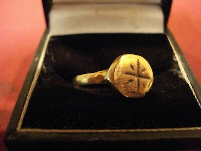 Genuine Ancient Roman Bronze Ring With 'cross'--Detector Find