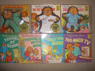 berenstain bears books vintage first time books 3 with puppets lot trouble baby