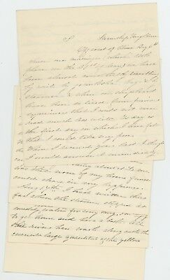 1870's  original 12 pages letter from a Off coast of China written on steamship