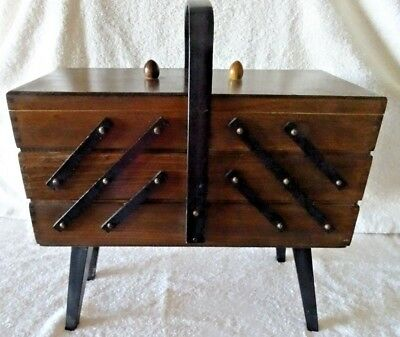Vintage Wooden Fold out 3 tier accordion Cantilever sewing box, Maker Unknown
