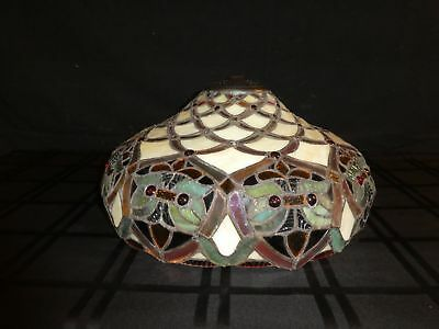 "GORGEOUS 16"" IRIDESCENT STAINED GLASS Green, Red & Purple LAMP SHADE(390)"