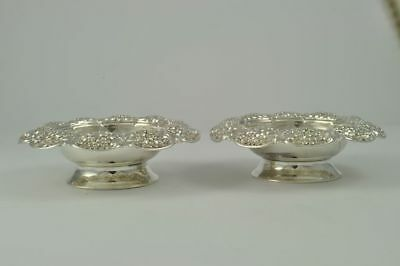 2 Tiffany & Co. Sterling Silver Repousse Footed Bowls NO MONO