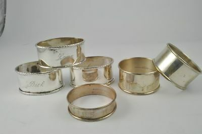 Lot of 6 Sterling Silver Estate Napkin Ring Holders MONO
