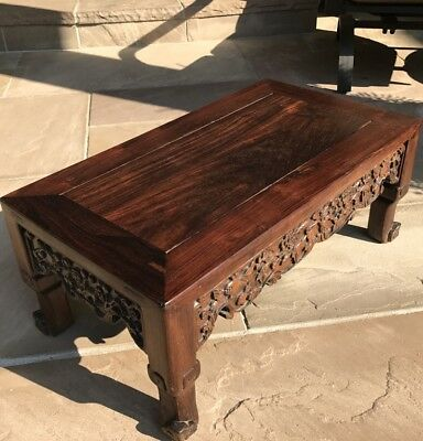 Nice Antique Chinese Carved Pomegranate Foliage Rosewood Kang Low Table Stool