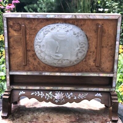 Superb 18/19Thc Chinese Jade & Icy White Jadeite Plaque Scepter Table Screen