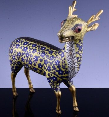 VERY RARE 18c CHINESE QIANLONG CLOISONNE YELLOW ENAMEL GILT BRONZE DEER FIGURE