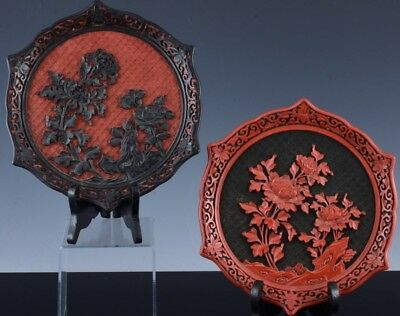 Pair Finely Carved Chinese Black & Red Cinnabar Lacquer Tray Dish Plates