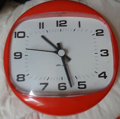 vintage ancienne horloge murale jaz orange,annees  60 - 70 deco