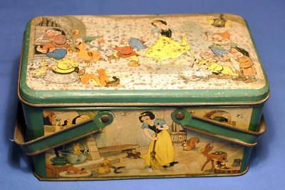 Walt Disney Ent. Snow White Lunch Box Tin Vintage 1930s Good Condition