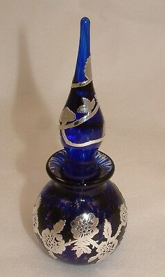 Stunning Laugharne Glass Perfume Bottle With Sterling Silver Overlay - Perfect