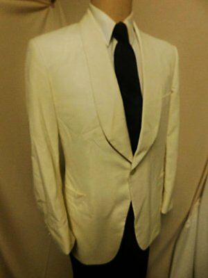 "D23 42L CREAM BROOKS DINNER JACKET 24"" arms FORMAL SHAWL COLLAR 1BUT"