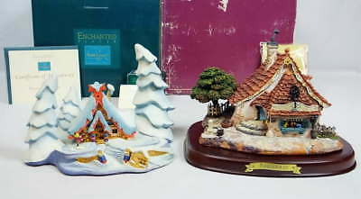 Lot 2 WDCC Nestled in the Snow w/Brass MIniature Peter  & Geppetto's Toy Shop