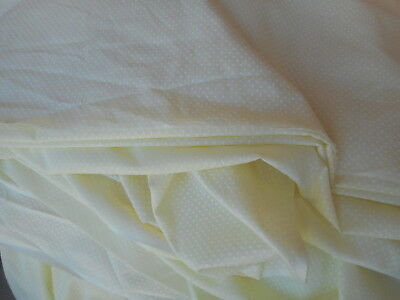 VTG Yellow Dotted Swiss Fabric 1 YD BY 44-45 PALE YELLOW SEMI SHEER White Dots