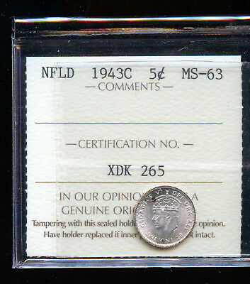 1943 Newfoundland 5 Cents ICCS Certified MS63 DCD84