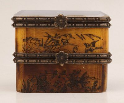 Antique Hand Cattle Bone Old Double Jewel Box Jade Lid Hand-Carved Flowers Bird