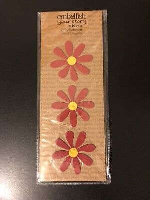 Embellish Your Story By Roeda Red Daisy Magnets Set Of 3 NEW