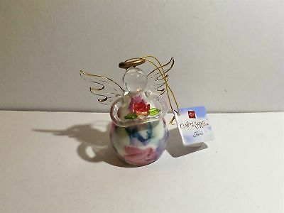 Pretty Little Russ Blown Glass Berrie Angel Of The Month June Rose W/tag