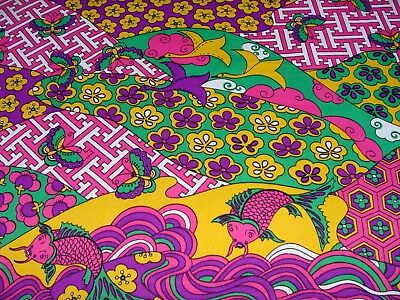 4 yds Vintage 1960's Psychedelic Nylon Fabric Hot Pink Purple Birds Fish Green