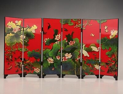 China'S Antique Lacquerware Screen Decoration Collection Paintings Lotus Home
