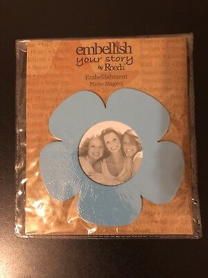 Embellish Your Story By Roeda Aqua Flower Photo Magnet NEW