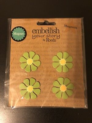 Embellish Your Story By Roeda Green Daisy Magnets SET OF 4 NEW