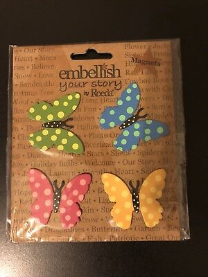 Embellish Your Story By Roeda Butterfly With Dots Magnets SET OF 4 NEW