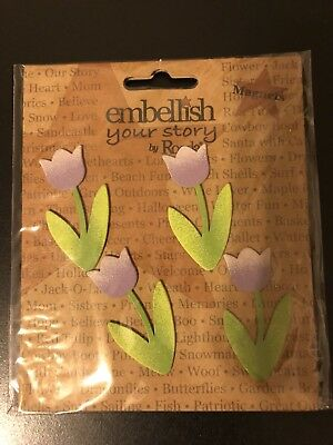 Embellish Your Story By Roeda Purple Tulip Magnets SET OF 4 NEW