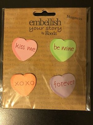Embellish Your Story By Roeda Candy Hearts Magnets SET OF 4 NEW